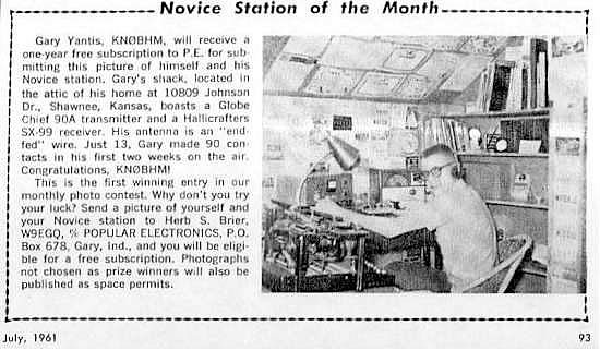 KN0BHM as Popular Electronics' Novice Station of the Month